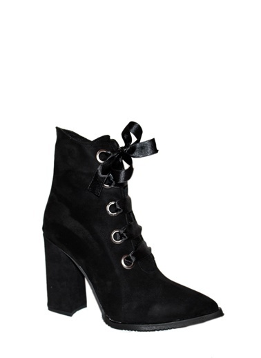 Derigo Siyah Süet Kadın Topuklu Bot 20109 Siyah